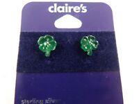 Sterling Silver post with acrylic shamrock clover earring studs earrings 925