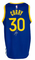 Stephen Curry Signed Golden State Warriors Blue Basketball Jersey BAS