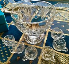 Gorham Crystal Cherrywood Footed Punch Bowl 18 Matching Cups & Silverplate Ladle