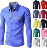 Formal Business Men Slim Shirts Fashion Colorful Long Sleeve Lapel Tops Blouse