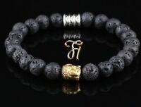 Lava Armband Bracelet Perlenarmband Buddhakopf gold 8mm