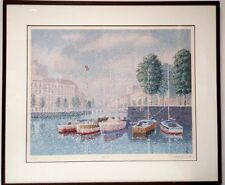 "Mick Durrant MARINA French City Signed & Numbered Serigraph Framed  30"" x 35"""