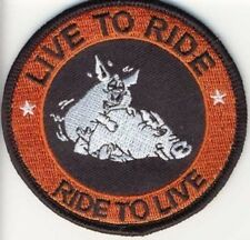 Embroidered Iron-On Cloth Biker Patch ~ Hogs Live To Ride Ride To Live.~