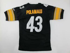 Reebok Pittsburgh Steelers TROY POLAMALU #43 Sewn On Youth M Home Genuine Jersey