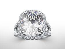 DIAMOND RING HALO ESTATE 8 PRONG 5 CT WOMEN 18K WHITE GOLD SI2 SIZE 5.5 6.5 7.5