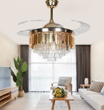 """New Listing42"""" Invisible Ceiling Fans Luxury Crystal Gold Chandelier with Led Light Remote"""
