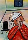 ACEO ORIGINAL Painting~LINCOLN'S MAID SERVANT~WHISKEY GULP~OUTSIDER~SMOODY