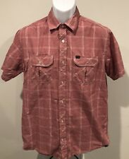 Mens Hurley Designed Exclusively for Buckle Light Red Plaid Button Down -MEDIUM