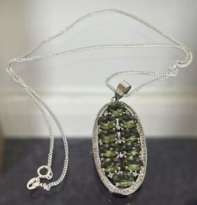 925 Silver Pendant And Chain Pale Green Stones.