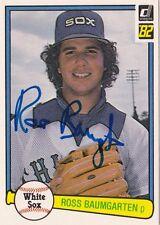 Ross Baumgarten Chicago White Sox 1982 Donruss Autographed Baseball Card W/COA A