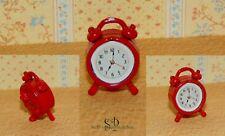 6187 - Wecker Uhr * Miniatur für Puppenhaus, Puppenstube * 1:12 * Rot*