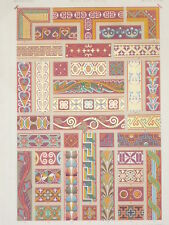 MOYEN AGE ART DECO RACINET LITHOGRAPHIE Art Decoratif Ornements Polychrome 1870