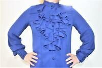 WOMENS NEW LONG SLEEVE PLAIN RUFFLE FRILL COLLAR CHIFFON BLOUSE TOP SIZE 8-18