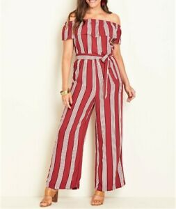 Crossroads Off The Shoulders Stripe Jumpsuit Dark Red Colour Size 16 Free Post