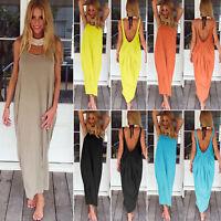 Womens Summer Boho Maxi Dress Backless Loose Baggy Hippie Holiday Beach Sundress