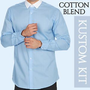 Mens Contrast Collar White Shirt Blue Long Sleeve Wedding Formal Office Party UK