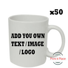 Personalised Mug Custom Photo Logo Cup Gift Box Image/Text Promotional Bulk x50