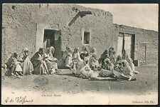Posted C1910 View of Local Men Outside Cafe Maure, Graiba, Tunisia