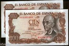 Pareja 100 Pesetas 1970 Manuel de Falla @ SERIE 9 A @