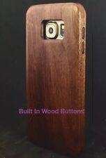 SAMSUNG Galaxy S6 Solido Legno Di Noce Custodia EXTRA SLIM COVER in legno con bottoni