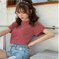 Women Short Sleeve Stripe Fashion T-shirt Ladies Shirt Top Tight Summer Solid