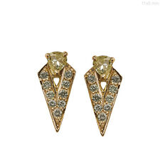 Solid 18 K Yellow Gold Pave Real Diamond Stud Earrings Vintage Inspired Jewelry