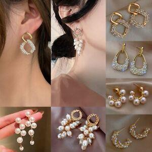 Fashion Crystal Pineapple Pearl Ear Stud Earrings Dangle Women Wedding Jewellery