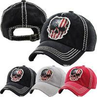 Skull USA Flag Vintage Distressed Baseball Cap Dad Hat Adjustable