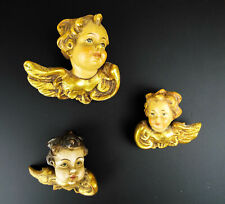Vintage Religious Hand Carved Wooden Polychrome Angel Figures Wood Cherubs