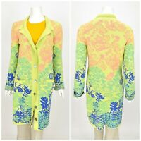 Womens KOOI Knitwear Long Cardigan Jumper Multicolor Cotton Floral Size 3 / L