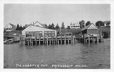 "Friendship ME ""The Lobster Pot"" Wharf Docks Real Photo Postcard"