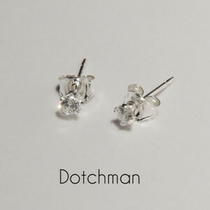 925 Sterling Silver 2.5MM  with Clear Cubic Zirconia Stud Earrings