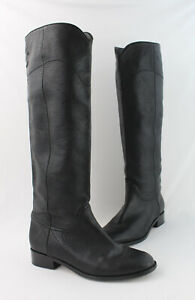 Chanel Women's Black Pebbled Leather Slip On Tall Riding Boot Shoe Size 41 US 11