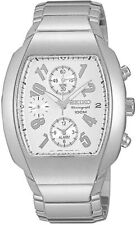 Seiko mens watches chronograph alarm stainless steel rectangle case SNA323P1