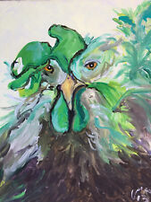 ABSTRACT CHICKEN PORTRAIT PAINTING IMPASTO CONTEMPORARY FINE ART SIGNED