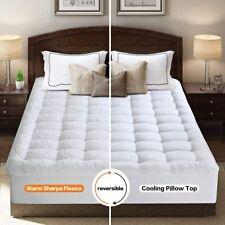 Reversible Pillowtop Mattress Topper Cooling 400Tc Warm Plush Sherpa Pad Cover