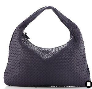 Bottega Veneta Navy Blue Intrecciato Woven Nappa Leather Large Hobo Bag EUC!