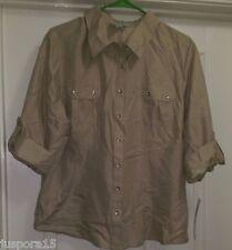 Joanna NWT Woman's Tan Button Down Shirt Size XL