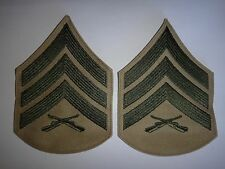 Pair Of USMC Marines SERGEANT Rank Green-On-Khaki Chevrons (Large)