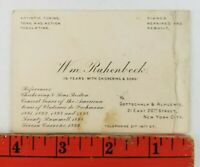 Vintage 1900's Pianos Repair Rebuilt New York City Business Card (Crease)