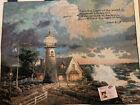 NWT Vintage 1999 Thomas Kinkade Wall Hanging Tapestry 34x30 w/ Verse Lighthouse