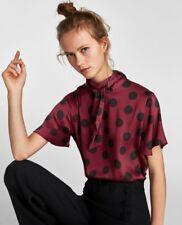 BNWOT Zara Maroon & Black Satin Polka Dot Blouse Top With Bow, Size XS 6 8 10