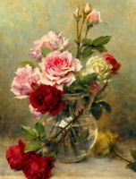 ZWPT845 beautiful Rose flowers in vase painted hand oil painting art on Canvas