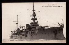 c.1907 marine de guerre Le Democratie military cruiser ship France postcard