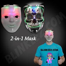 HALLOWEEN LIGHT UP JABBAWOCKEEZ Flashing Dual SKULL LED Mask -FREE SHIPPING!