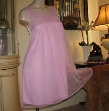 Tto65 - Vintage Baby Doll Nightgown Size Medium - Movie Star Lilac Chiffon Gown