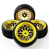 4Pc Rubber Tires Foam Insert WheelRims For HSP RC 1:10Flat Racing On Road Car