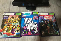 Microsoft XBOX 360 KINECT Sensor Bundle W 3 Games Just Dance Central Tested Lot