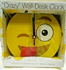 """Emoji Smiley Face Wall or Tabletop Desk Clock 6 1/2"""" Diameter  with Stand"""