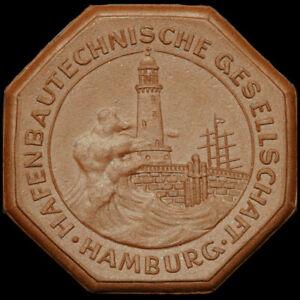 DRESDEN: Porzellan-Medaille 1929. HAFENBAUTECHNISCHE GESELLSCHAFT HAMBURG.